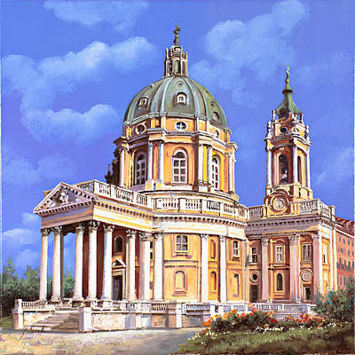Grave Painting - la basilica di Superga by Guido Borelli