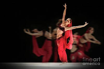 Art Print featuring the photograph La Bayadere Ballerina In Red Tutu Ballet by Dimitar Hristov