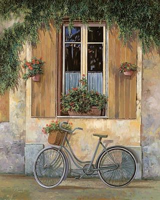 Window Painting - La Bici by Guido Borelli