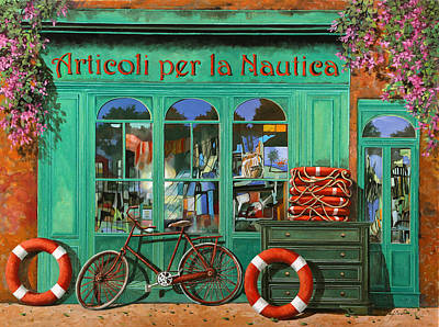 Pink Flower Painting - La Bicicletta Rossa by Guido Borelli