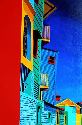Painting - La Boca Street Scene Twelve by JoeRay Kelley