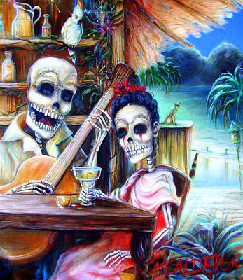 Skull Painting - La Borracha by Heather Calderon