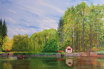 Painting - La Cabane A Acquigny - Oil On Canvas by Jean-Pierre Ducondi