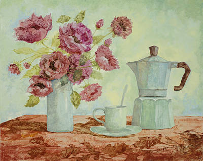 Army Posters Paintings And Photographs - La Caffettiera E I Fiori Amaranto by Guido Borelli