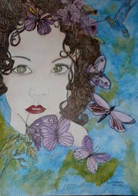 Colibri Painting - La Carina E Le Sue Farfalle E Colibri by Anne Bazabidila