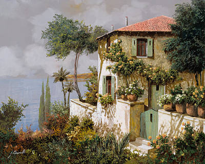 Lakescape Painting - La Casa Giallo-verde by Guido Borelli