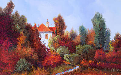 Paintings - La Casa Nel Bosco by Guido Borelli