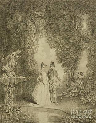 Drawing - La Cascade by Jean Antoine Watteau