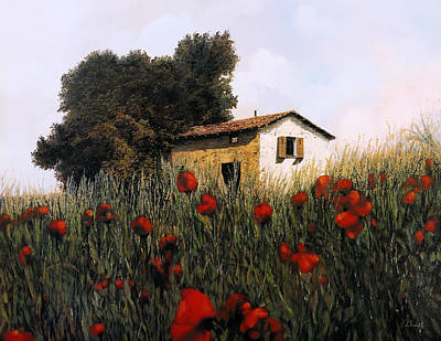 Painting Royalty Free Images - La Casetta In Mezzo Ai Papaveri Royalty-Free Image by Guido Borelli
