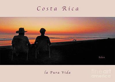 Photograph - la Casita Playa Hermosa Puntarenas Costa Rica - Sunset Happy Couple Panorama Greeting Card Soft by Felipe Adan Lerma