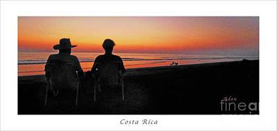 Photograph - la Casita Playa Hermosa Puntarenas Costa Rica - Sunset Happy Couple Panorama Poster by Felipe Adan Lerma