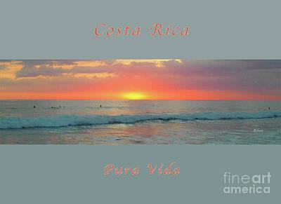 Photograph - la Casita Playa Hermosa Puntarenas Costa Rica - Sunset Teal Panorama Greeting Card  by Felipe Adan Lerma