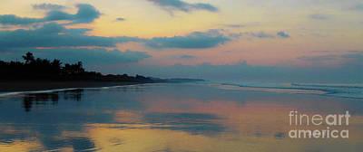 la Casita Playa Hermosa Puntarenas - Sunrise One - Painted Beach Costa Rica Panorama Art Print