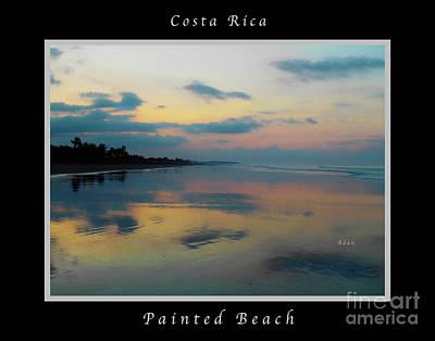 Photograph - la Casita Playa Hermosa Puntarenas - Sunrise One - Painted Beach Costa Rica Poster wtih text by Felipe Adan Lerma