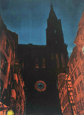 Printmaking Mixed Media - La Cathedrale Notre Dame De Strasbourg by Hunter Davis
