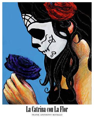 Painting - La Catrina Con La Flor II by Frank Botello