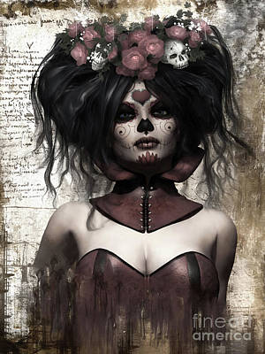 Digital Art - La Catrina by Shanina Conway