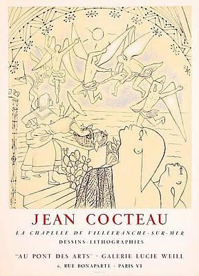 Mourlot Painting - La Chapelle Villefranche Sur Mer by Jean Cocteau