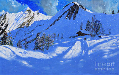 Ski Resort Painting - La Clusaz by Andrew Macara