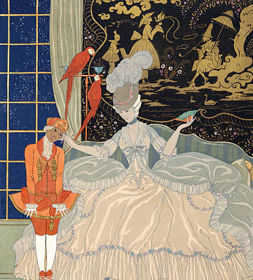 Ecole Painting - La Comtesse From Personages De Comedie by Georges Barbier