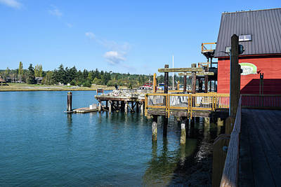 Photograph - La Conner Waterfront Wharf by Tom Cochran