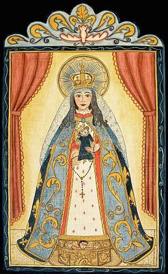 Virgen Mary Painting - La Conquistadora, Our Lady Of The Rosary by Ellen Chavez de Leitner