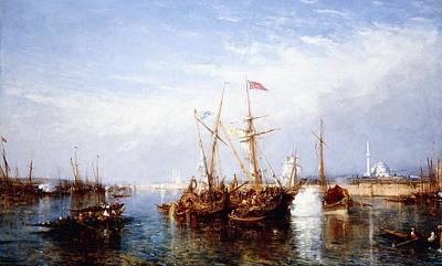 Water Vessels Painting - La Corne D'or, Constantinople by Felix Ziem