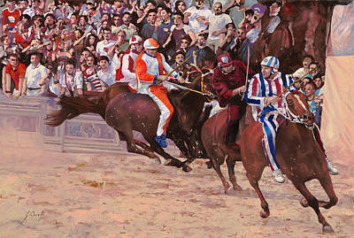 Comedian Drawings - La Corsa Del Palio by Guido Borelli