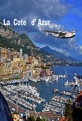 La Clippers Mixed Media - La Cote D' Azur , Boeing 314 Clipper by Thomas Pollart