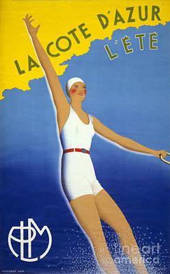 La Cote D'azur L'ete Vintage Poster Restored Art Print by Carsten Reisinger