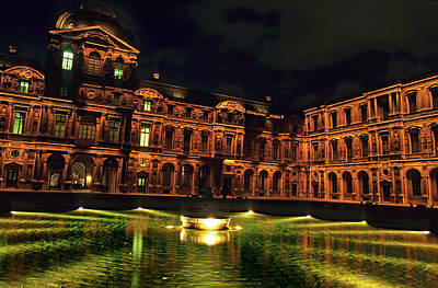 La Cour Carree And The Building Of The Louvre Illuminated At Night Art Print by Sami Sarkis