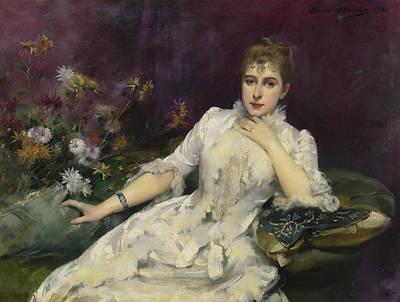 La Dame Avec Les Fleurs Art Print by Louise Abbema