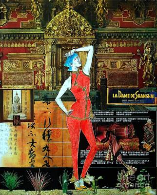 Painting - La Dame De Shanghai -- Asian Fashion Collage by Jayne Somogy