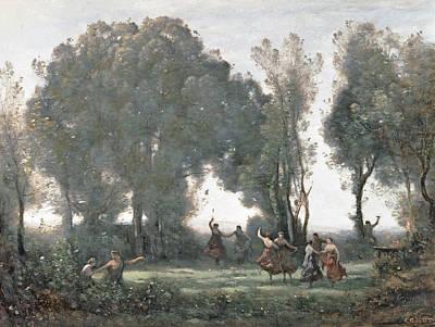 La Danse Des Nymphes Art Print by Jean Baptiste Camille Corot
