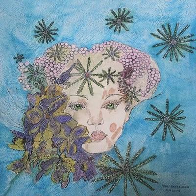 Comic Character Paintings - La Deesse Maia by Anne Bazabidila