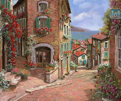 Downhill Painting - La Discesa Al Mare by Guido Borelli