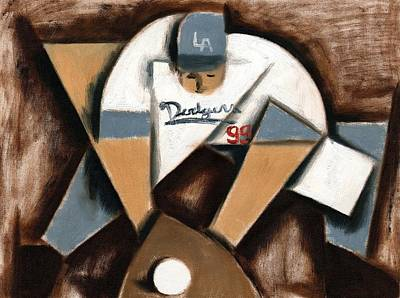 Painting - La Dodgers Cubism Baseball Shortstop Art Print by Tommervik