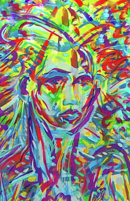 Mexicano Digital Art - La Dreamer Blue by Jimmy Longoria