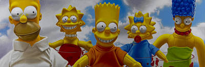 Hyper Realism Painting - La Famiglia Simpson by Tony Chimento