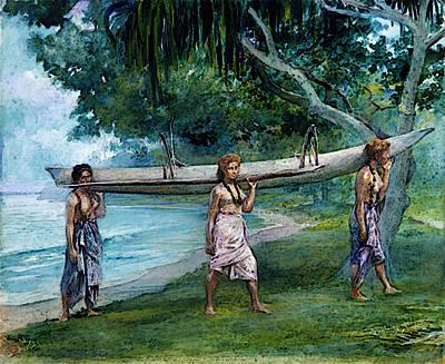 Canoe Digital Art - La Farge John Girls Carrying A Canoe Vaiala In Samoa by John LaFarge