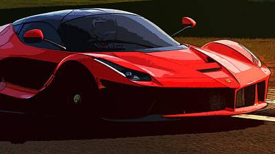 Painting - La Ferrari At Sunset by Andrea Mazzocchetti