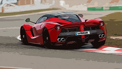 Painting - La Ferrari - Rear View by Andrea Mazzocchetti