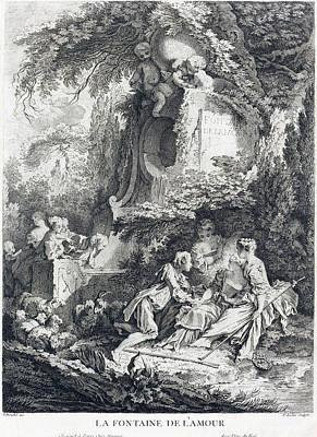 Drawing - La Fontaine De L'amour by Pierre-Alexandre Aveline