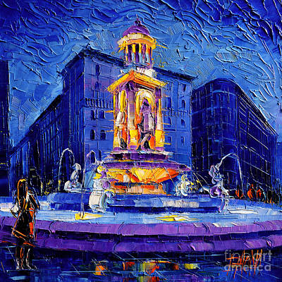 Streets Of France Painting - La Fontaine Des Jacobins by Mona Edulesco