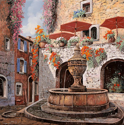 la fontana a St Paul de Vence Art Print by Guido Borelli