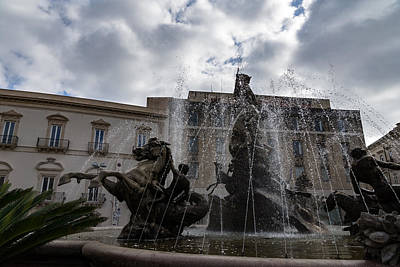 Photograph - La Fontana Di Diana - Fountain Of Diana Silver Jets And Sky Drama by Georgia Mizuleva