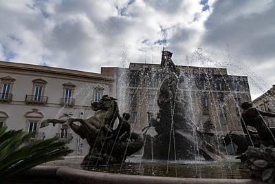 Photograph - La Fontana Di Diana - Fountain Of Diana Silver Jets And Sky Drama by Georgia Mizuleva