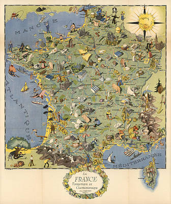 Mixed Media - La France Touristique Et Gastronomique - Pictorial Illustrated Map Of France -cartography by Studio Grafiikka