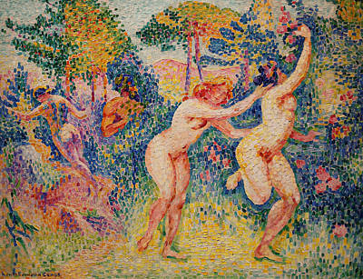 Divisionist Painting - La Fuite Des Nymphes by Henri-Edmond Cross