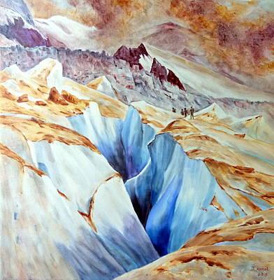 Chamonix Painting - La Grande Crevasse by Danielle Arnal
